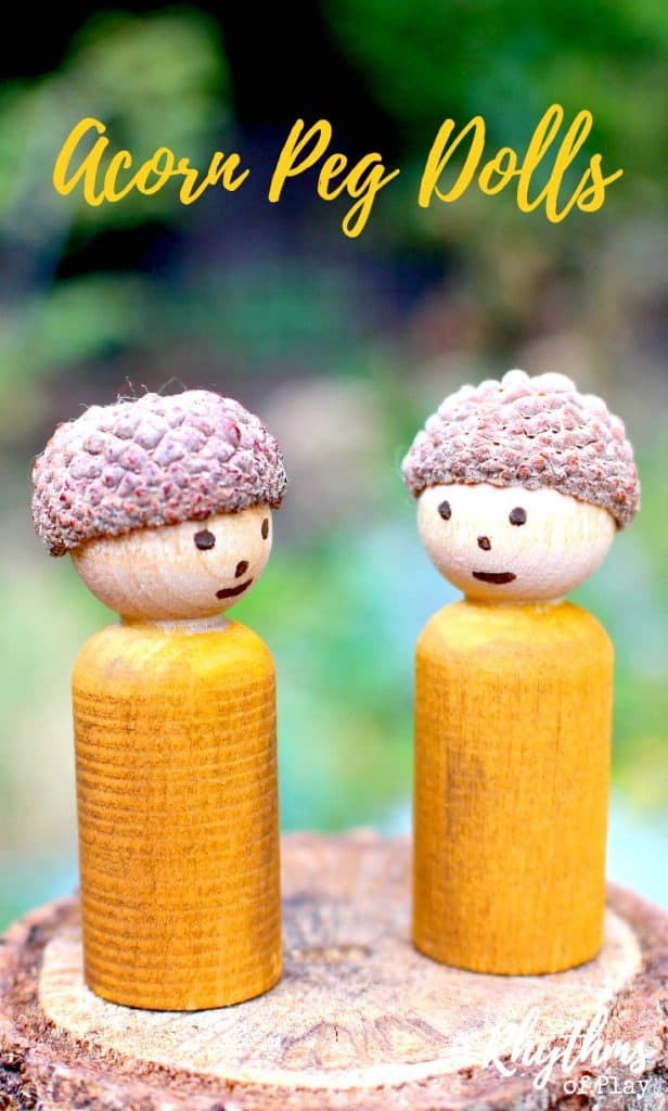 DIY acorn peg dolls are a fun craft idea for both adults and kids preschool age and up. They are made using wooden peg dolls, watercolor paint, and an acorn cap found in nature. The tutorial is easy to follow. They look wonderful displayed on mantles, window sills, fairy gardens and nature tables. They are also the perfect handmade dolls for pretend or imaginative play.